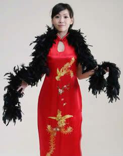 チャイナドレス用 フェザーボア 黒
