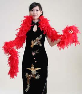 チャイナドレス用 フェザーボア 赤